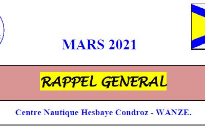 Rappel Général : mars 2021